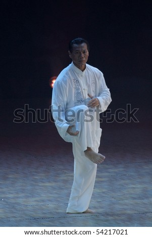 BASEL - MAY 29: International martial artists showcase there skills at the Budo Gala festival May 29, 2010 in Basel, Switzerland. Main attraction was Jean Claude van Damme.