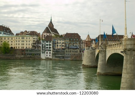 Basel, Switzerland: Bridge over Rhine river - stock photo