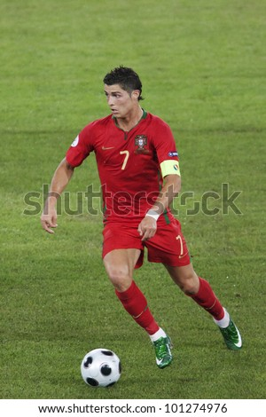 BASEL, SWITZERLAND - JUNE 19:  Cristiano Ronaldo of Portugal in action during a UEFA Euro 2008 match against Germany June 19, 2008 in Basel, Switzerland.  Editorial use only. - stock photo
