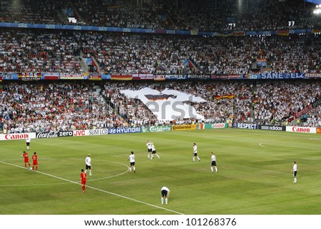BASEL, SWITZERLAND - JUNE 19:  Germany and Portugal prepare to kick off a Euro 2008 match on June 19, 2008 in Basel, Switzerland.  Editorial use only. - stock photo