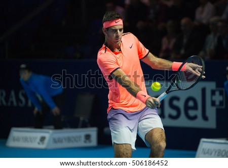 BASEL, SWITZERLAND - OCT 28: Juan Martin del Potro in action vs Kei Nishikori at the ATP 500 World Tour Swiss Indoors Tennis Tournament at St.Jakobshalle in Basel Switzerland on October 28, 2016