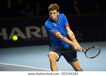 BASEL, SWITZERLAND - OCT 27: Pablo Carreno Busta in action vs Marin Cilic at the ATP 500 World Tour Swiss Indoors Tennis Tournament at St.Jakobshalle in Basel Switzerland on October 27, 2016