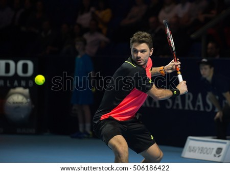 BASEL, SWITZERLAND - OCT 28: Stanislas Wawrinka in action vs Mischa Zverev at the ATP 500 World Tour Swiss Indoors Tennis Tournament at St.Jakobshalle in Basel Switzerland on October 28, 2016