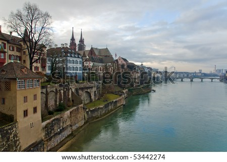 Basel, Switzerland: Panorama of city and Rhine river - stock photo