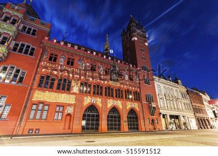 Basel Town Hall at night. Basel, Basel-Stadt, Switzerland.
