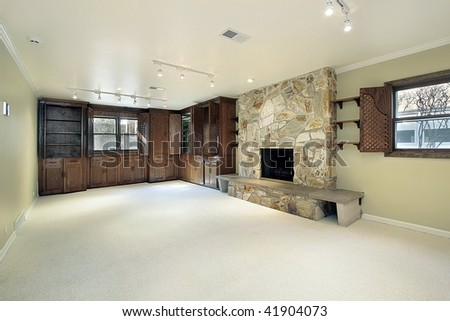 Basement in new construction home - stock photo