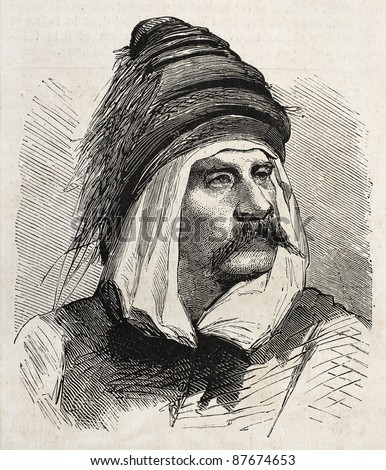 Bashi-Bazouk old engraved portrait (irregular soldier of Ottaman army). By unidentified author, published on L'Illustration, Journal Universel, Paris, 1860 - stock photo