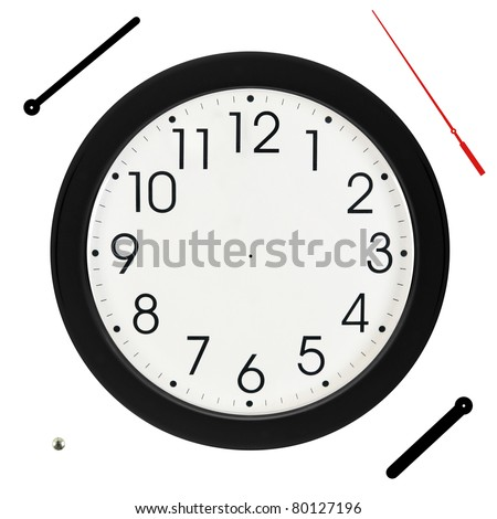Basic Black Wall Clock with Hands Separated - stock photo