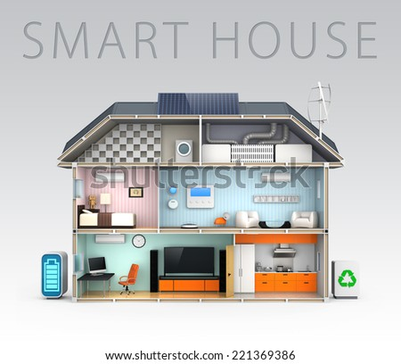 "Basic description of home automation concept. with""Smart house"" text. - stock photo"