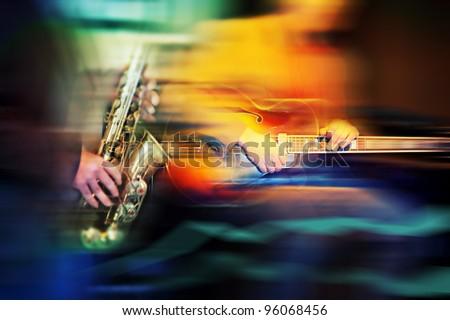 basic jazz instruments - stock photo