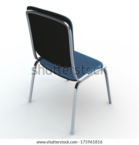 Basic office chair cloth covered. Isolated on white background with shadow - stock photo