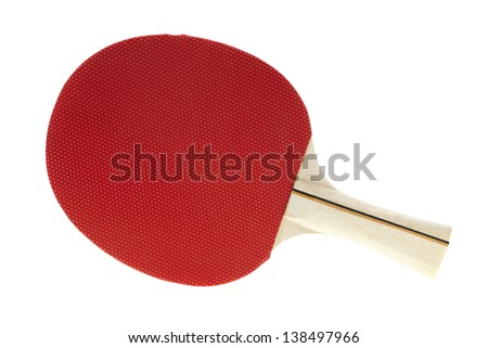 Basic red table tennis racquet on white - stock photo