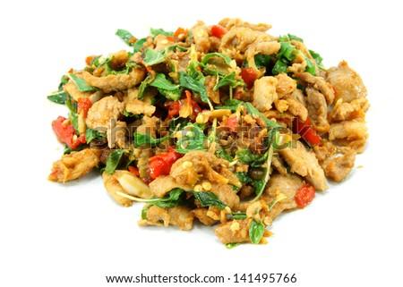Basil fried pork. Thai food. - stock photo