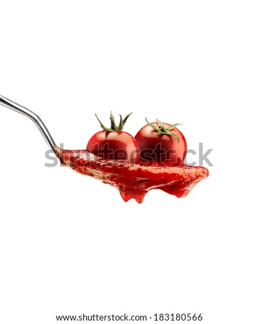 Basil pasta and tomato sauce on an isolated background - stock photo