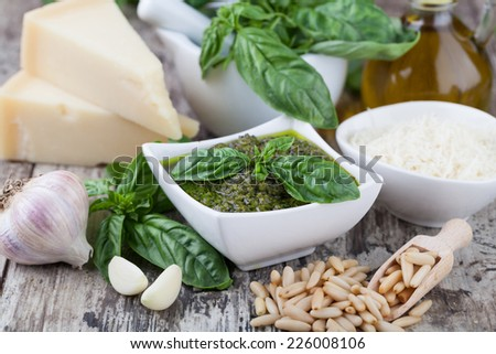 Basil pesto sauce and fresh ingredient - stock photo