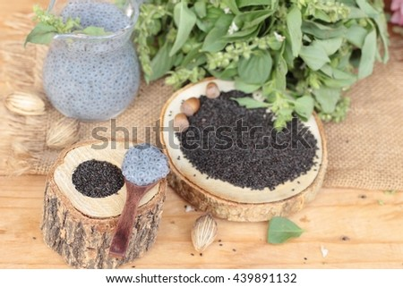 Basil seeds for fiber beverage and raw seed.