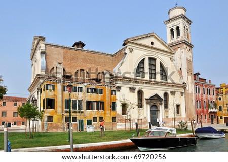 Basilica dei Santi Gervasio e Protasio on Campo San Trovaso in Venice. - stock photo