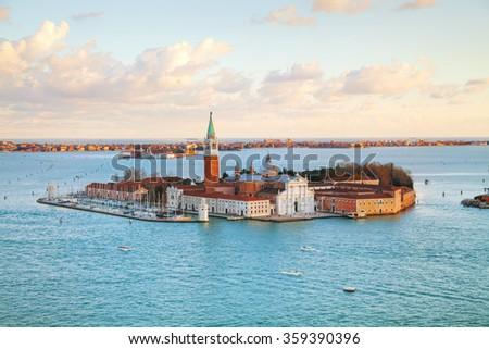 Basilica Di San Giorgio Maggiore in Venice in the evening - stock photo