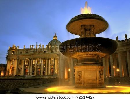 Basilica di San Pietro Vatican Cathedral, Rome Italy at dusk - stock photo