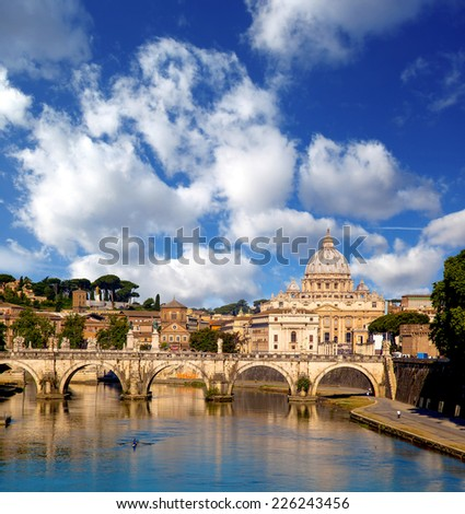 Basilica di San Pietro with bridge in Vatican, Rome, Italy - stock photo