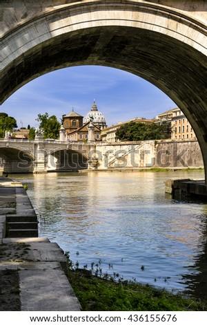 Basilica di San Pietro with bridge in Vatican, Rome, Italy - stock photo