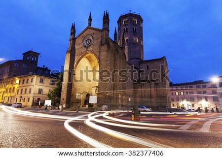 Basilica di Sant'Antonino in Piacenza. Piacenza, Emilia-Romagna, Italy - stock photo