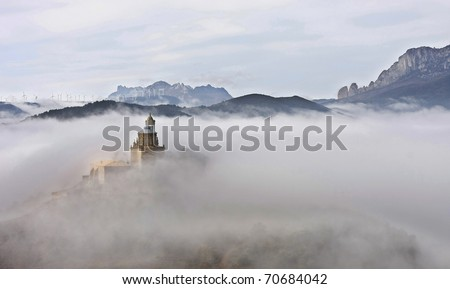 Basilica in the clouds - stock photo