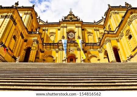 Basilica in Wambierzyce (germ. Albendorf) - very famous pilgrimages place, known as a Polish Jerusalem. - stock photo