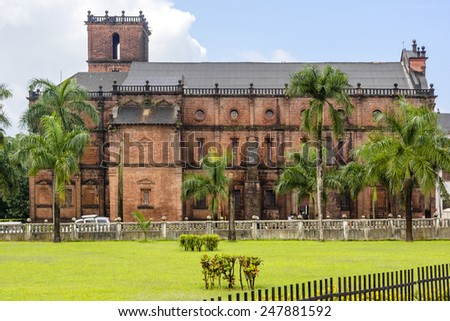 Basilica of Bom Jesus (Borea Jezuchi Bajilika) in Old Goa, which was the capital of Goa in the early days of Portuguese rule, located in Goa, India. Basilica is a UNESCO World Heritage Site. - stock photo