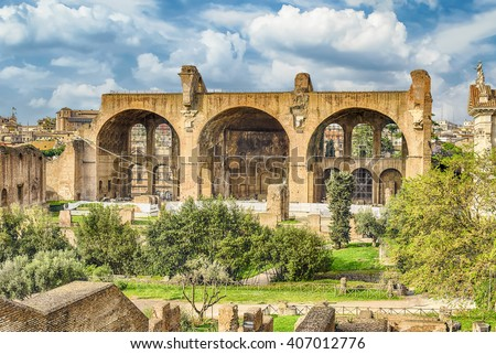 Basilica of Maxentius and Constantine, ruins in the Roman Forum in Rome, Italy