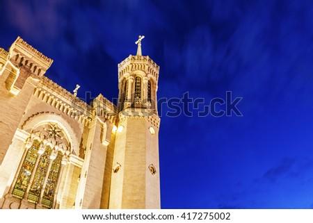 Basilica of Notre-Dame de Fourviere in Lyon. Lyon, Rhone-Alpes, France. - stock photo