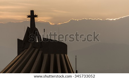 Basilica of our Lady of Guadalupe. Mexico City - stock photo