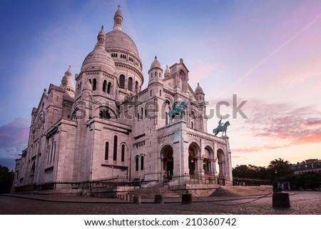 Basilica of Sacre Coeur, Paris before sunrice - stock photo
