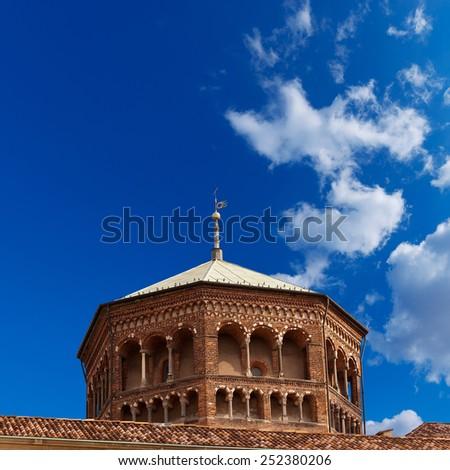 Basilica of Saint Ambrogio Milano Italy. Detail of famous and ancient basilica in Milano, Lombardia, Italy, dedicated to Saint Ambrogio (Ambrose) - stock photo