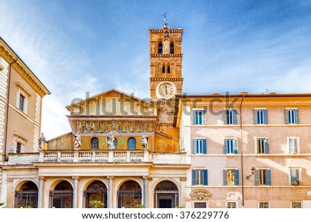 Basilica of Saint Mary in Rome, Italy, the oldest Church of Our Lady in the world - stock photo