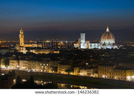 Basilica of Saint Mary of the Flower and Palazzo Vecchio, Florence, Italy - stock photo