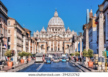 Basilica of Saint Peter in the Vatican, Rome, Italy - stock photo