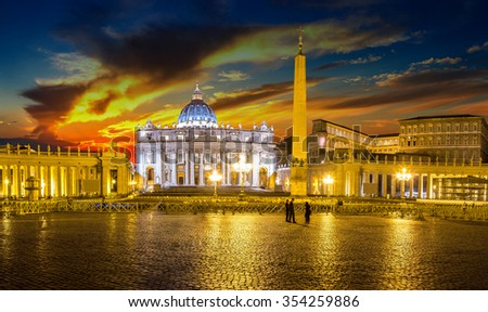Basilica of Saint Peter in Vatican at beautiful sunset - stock photo