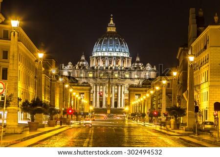 Basilica of Saint Peter in Vatican at summer night - stock photo