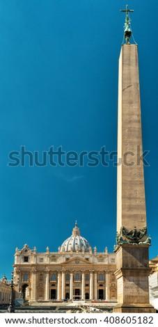 Basilica of Saint Peter (San Pietro) and egyptian obelisk. Vatican, Rome, Italy - stock photo