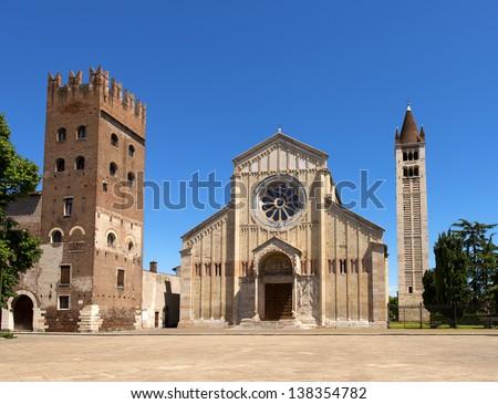 Basilica of San Zeno Verona - Italy / Facade and bell tower of the Church of San Zeno in Verona Italy - stock photo
