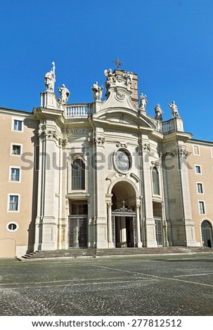Basilica of the Holy Cross in Jerusalem (Santa Croce in Gerusalemme), Roman Catholic parish. It is one of the Seven Pilgrimage Churches of Rome, Italy   - stock photo