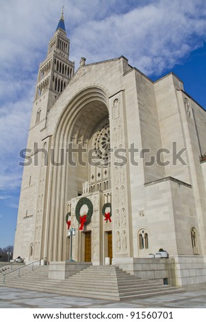 Basilica of the National Shrine of the Immaculate Conception in Washington DC - stock photo