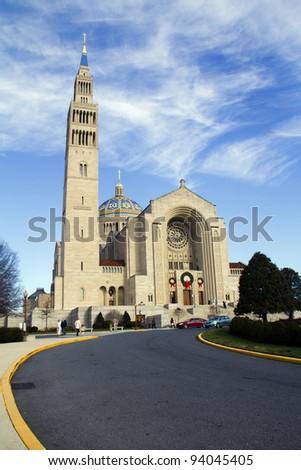 Basilica of the National Shrine of the Immaculate Conception Washington, DC - stock photo