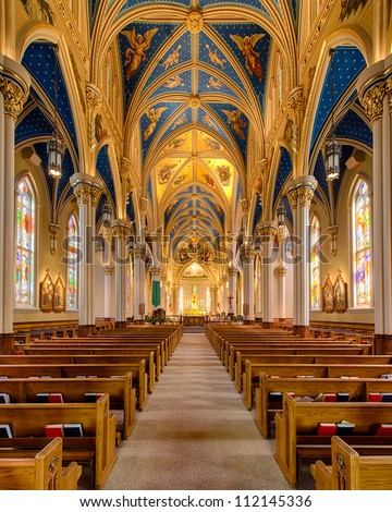 Basilica of the Sacred Heart on the campus of the University of Notre Dame in South Bend, Indiana - stock photo