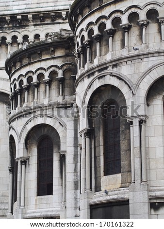 Basilica of the Sacred Heart side wall view, Paris, France - stock photo