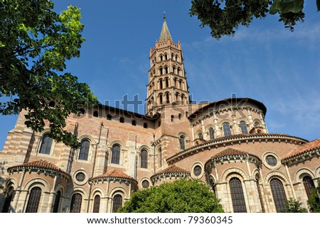 basilica Saint-Sernin of Toulouse in French - stock photo