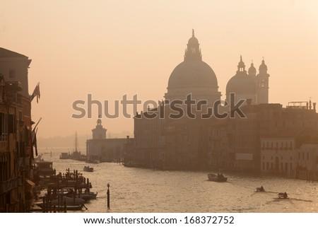 Basilica Santa Maria della Salute in Dorsoduro, Venice and Grand Channel  - stock photo