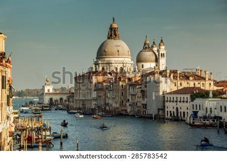 Basilica Santa Maria della Salute in sunset time, Venice, Italy - stock photo