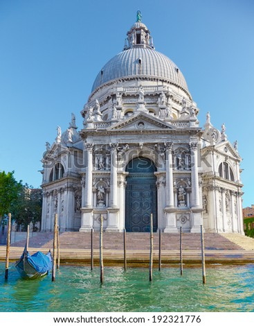 Basilica Santa Maria della Salute on embankment of Canal Grande in Venice, Italy - stock photo